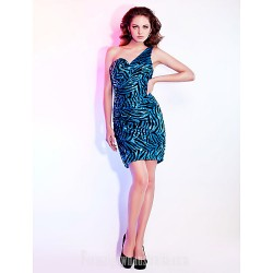 Sheath Column Sexy One Shoulder Short Mini Sequined Australia Cocktail Dress